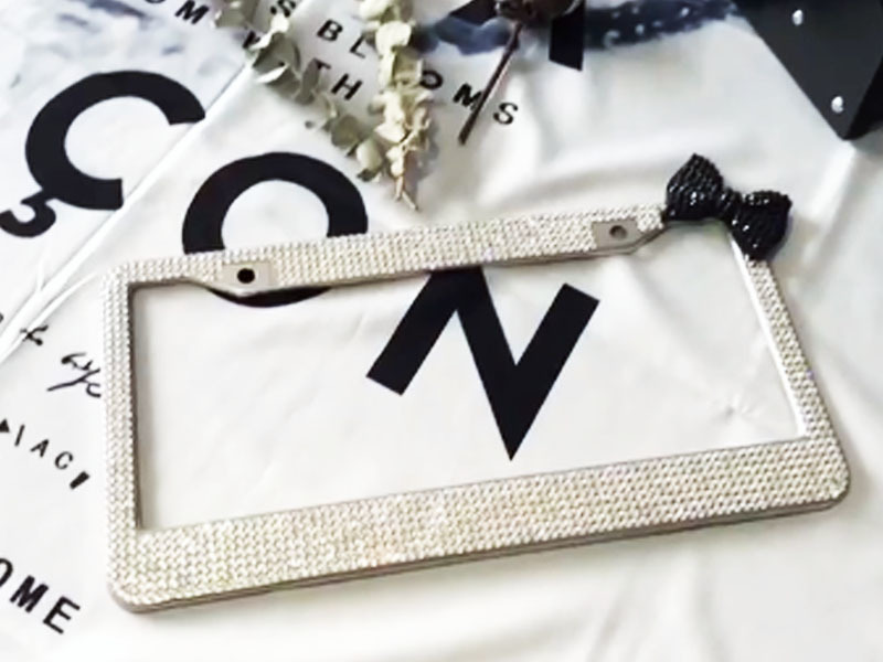 White Diamond + Black Bow rhinestone license plate frames