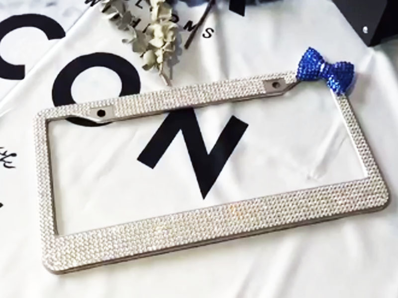 White Diamond + dark blue bow rhinestone license plate frames