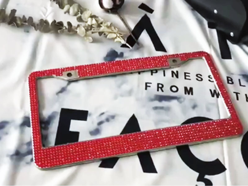 Scarlet Diamond rhinestone license plate frames