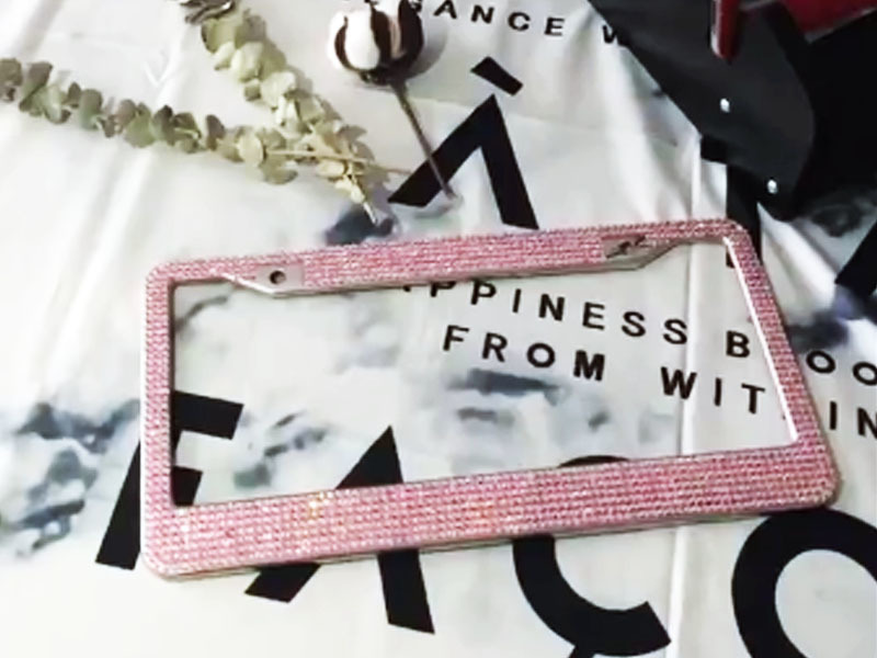 Pink Diamond rhinestone license plate frames