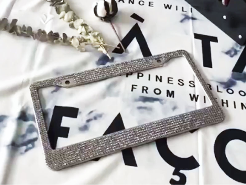 Gray  Diamond rhinestone license plate frames