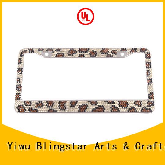 durable black crystal license plate frame diamond factory for car