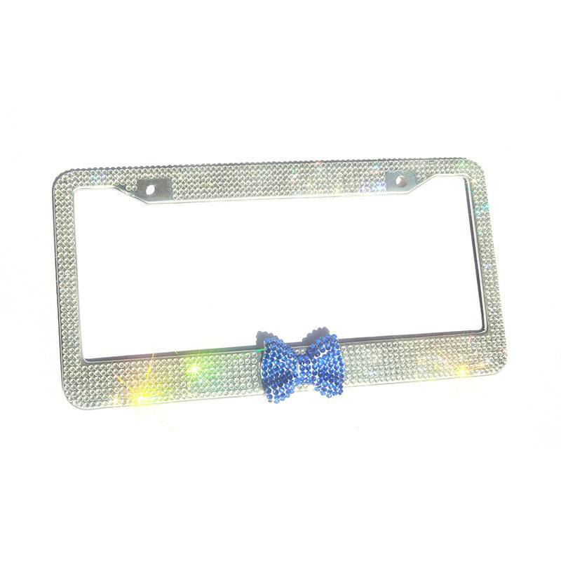 Quality American size rhinestone license plate frames