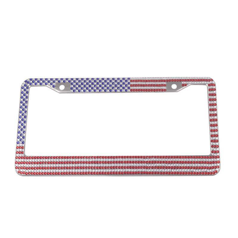USA Flag Bling Rhinestone  License Plate Frames