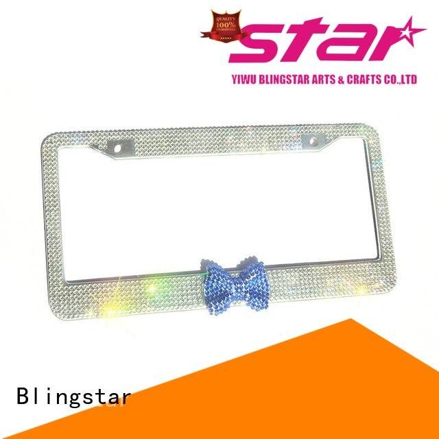 Blingstar waterproof diamonds license plate frame custom for car license
