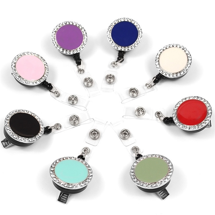 High quality Rhinestone retractable ID badge holder reel