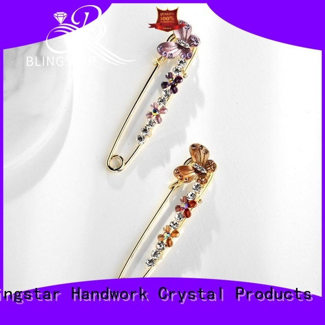 Custom cheap large rhinestone brooches antique manufacturer for girl