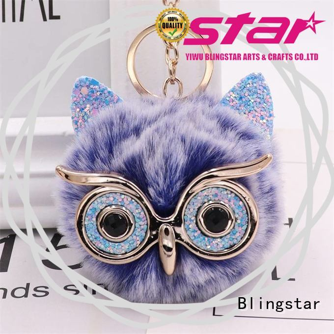 high quality rhinestone keychain lanyard fluffy company for key