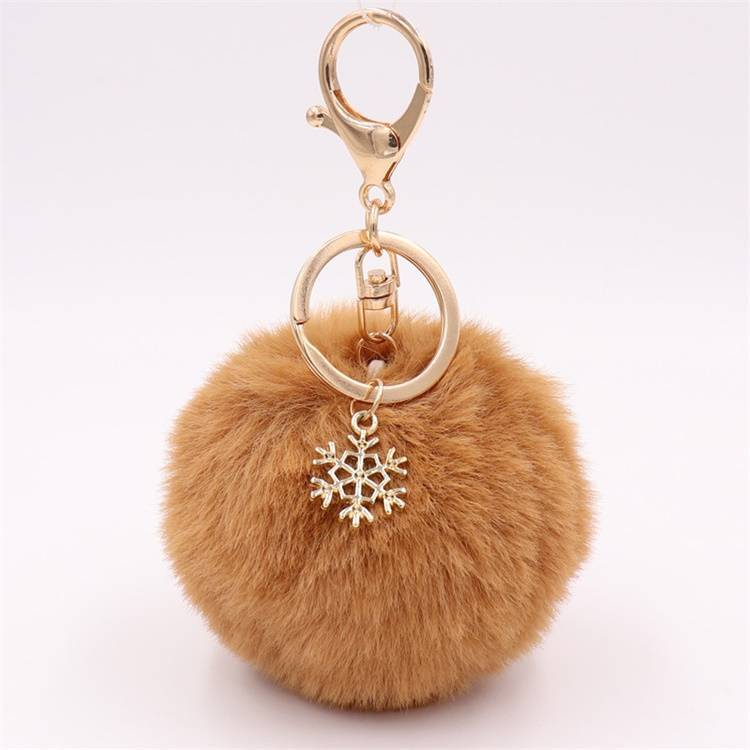 New Faux Pompom Keychains Cute Christmas PU Jewelry
