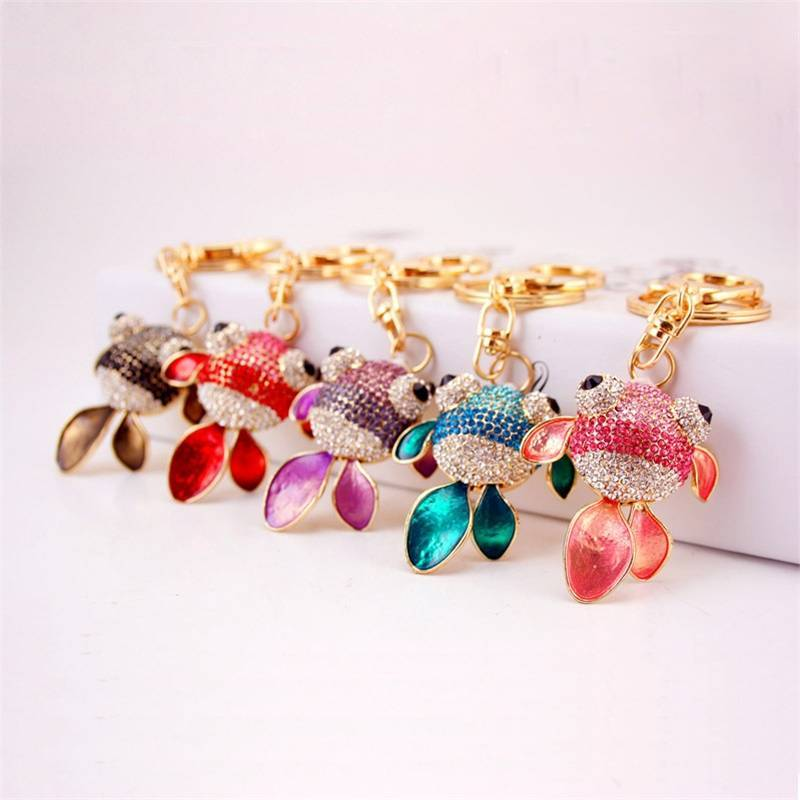 Goldfish shape Zinc Alloy Metal Bling Keychain