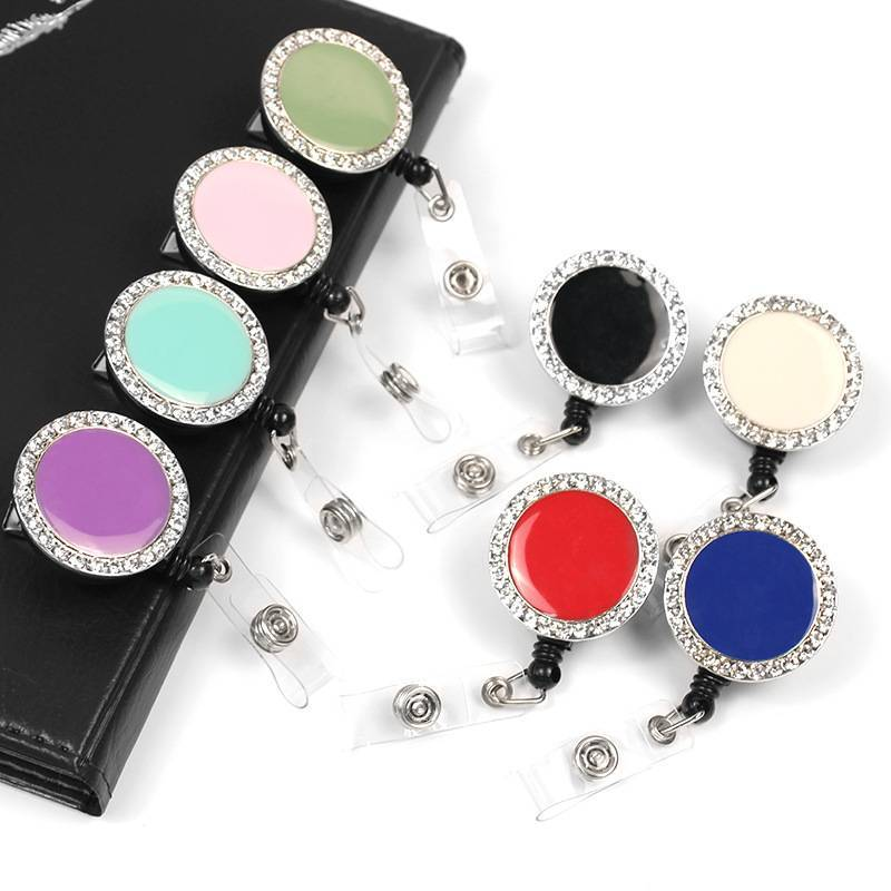 Jewelry Rhinestone Button Retractable Badge Reel