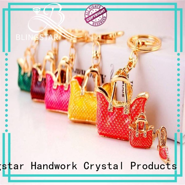 Blingstar made rhinestone skull keychain bulk production for key