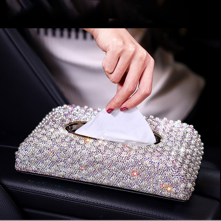 Luxury Sparkling Napkins Car Bling Box Tissue Box