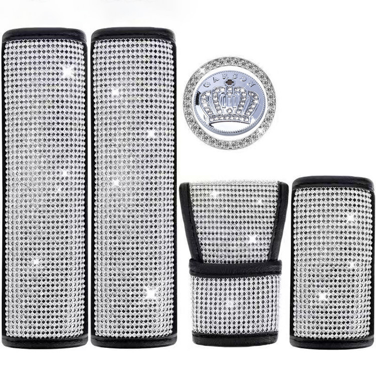 Diamond-studded ladies car rhinestone seat belt shoulder guard gear shift cover handbrake protective cover