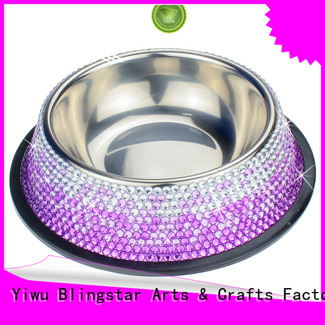 Blingstar bling fancy pet bowls bulk production for pet