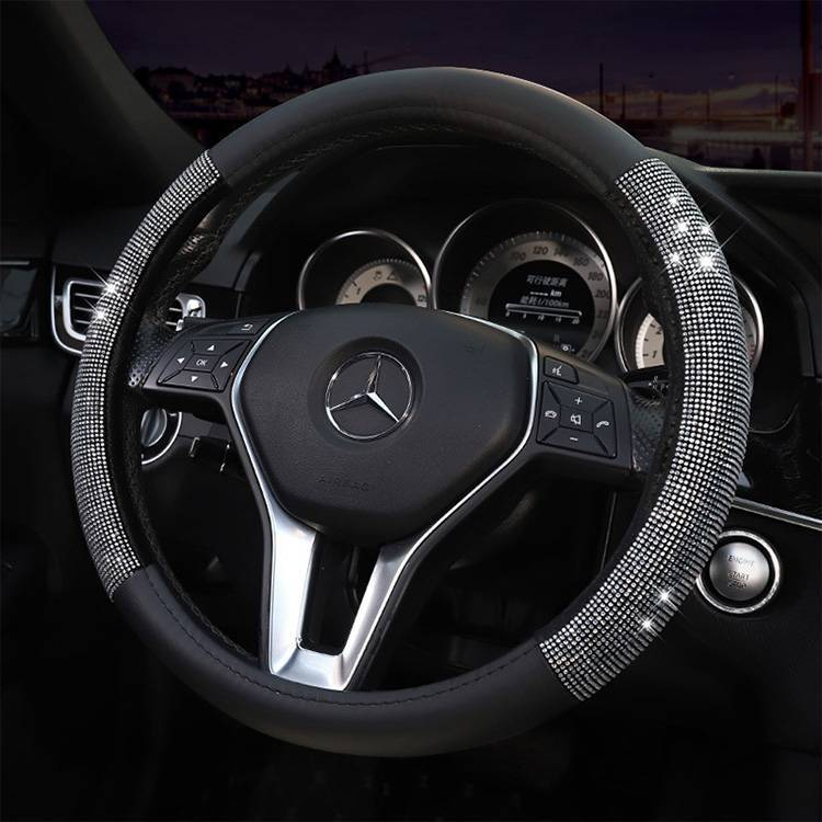 Microfiber leather rhinestone car steering wheel cover