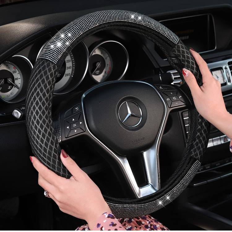 Bling rhinestone car steering wheel cover