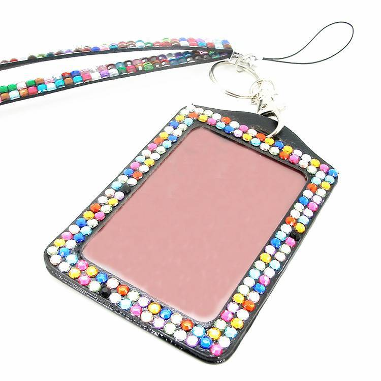 Multi Style Rhinestone Retractable Id Badge Card Holder