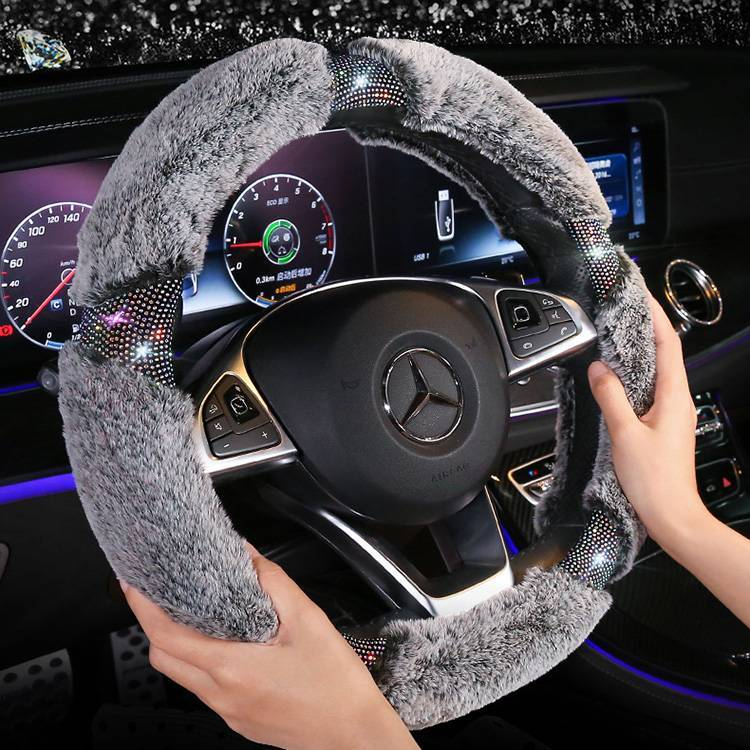Rhinestone Plush steering wheel cover