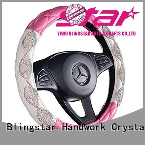 Blingstar box pink rhinestone desk set for car